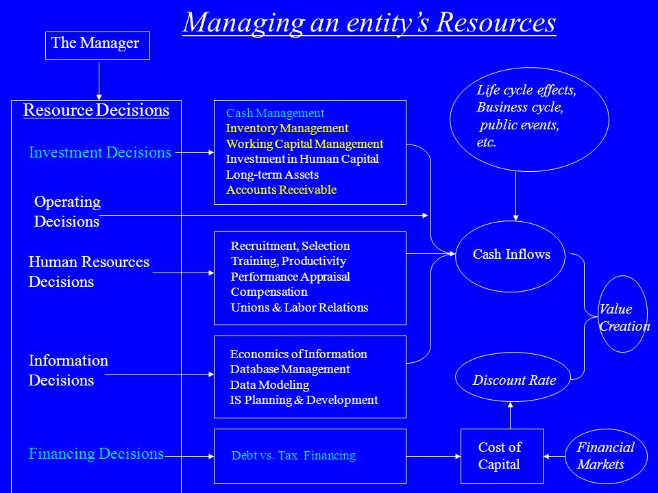 The Manager Resource Decisions Information Decisions Financing Decisions Investment Decisions Human Resources Decisions Managing an entity's Resources Cash Management Inventory Management Working Capital Management Investment in Human Capital Long-term Assets Accounts Receivable Economics of Information Database Management Data Modeling IS Planning & Development Debt vs.
