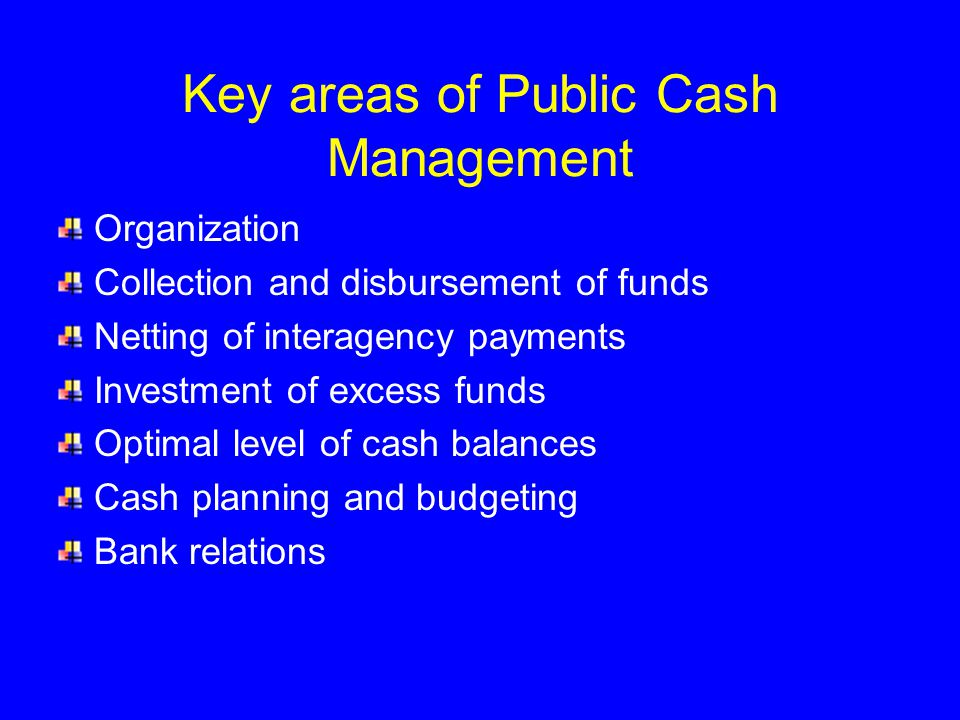 Key areas of Public Cash Management Organization Collection and disbursement of funds Netting of interagency payments Investment of excess funds Optimal level of cash balances Cash planning and budgeting Bank relations