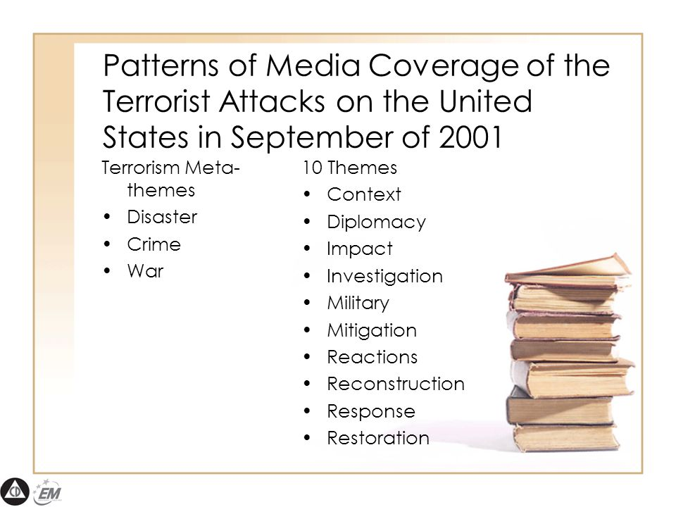 Patterns of Media Coverage of the Terrorist Attacks on the United States in September of 2001 Terrorism Meta- themes Disaster Crime War 10 Themes Context Diplomacy Impact Investigation Military Mitigation Reactions Reconstruction Response Restoration