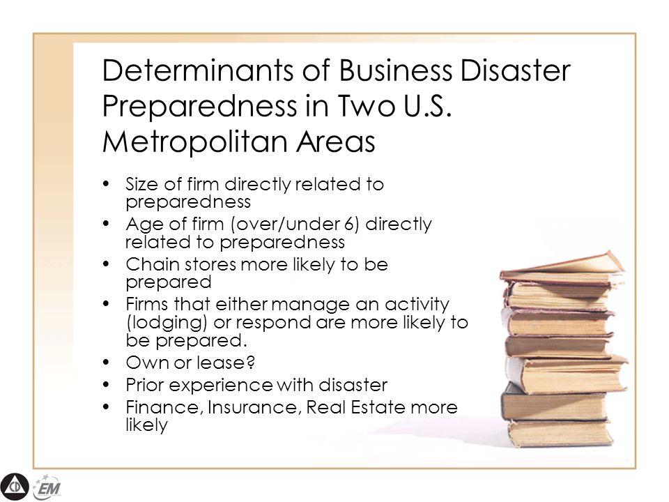 Determinants of Business Disaster Preparedness in Two U.S.
