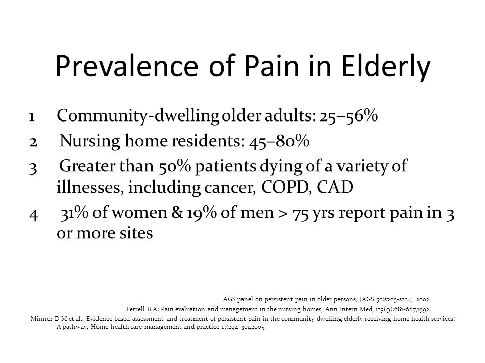 Prevalence of Pain in Elderly 1 Community-dwelling older adults: 25–56% 2 Nursing home residents: 45–80% 3 Greater than 50% patients dying of a variet