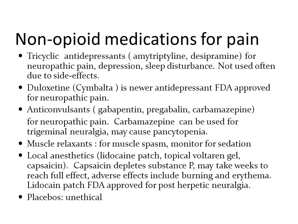 Non-opioid treatment Massage reduces pain, including release of muscle tension, improved circulation, increased joint mobility, and decreased anxiety TENS unit: Can be considered for diabetic neuropathy but not for chronic low back pain
