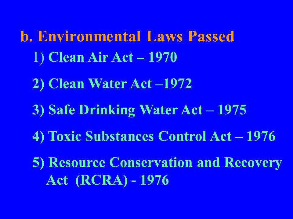 b. Environmental Laws Passed 1) Clean Air Act – 1970 2) Clean Water Act –1972 3) Safe Drinking Water Act – 1975 4) Toxic Substances Control Act – 1976