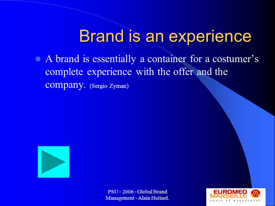 PSU - 2006 - Global Brand Management - Alain Hutinel.