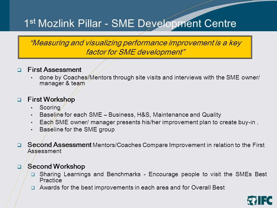 1 st Mozlink Pillar - SME Development Centre  First Assessment done by Coaches/Mentors through site visits and interviews with the SME owner/ manager & team  First Workshop Scoring Baseline for each SME – Business, H&S, Maintenance and Quality Each SME owner/ manager presents his/her improvement plan to create buy-in.