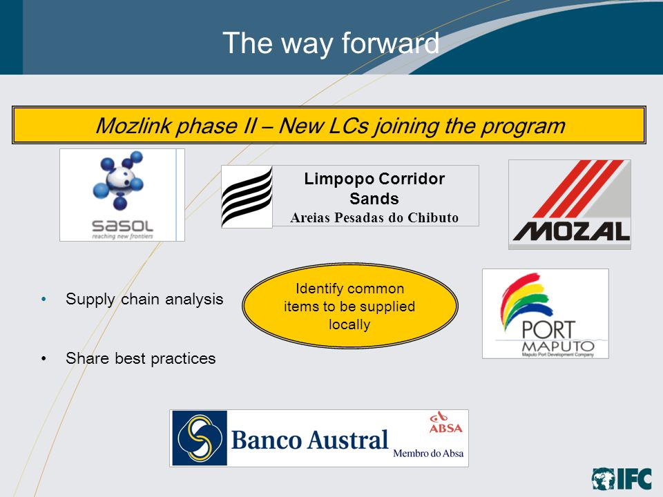 The way forward Supply chain analysis Share best practices Mozlink phase II – New LCs joining the program Identify common items to be supplied locally Limpopo Corridor Sands Areias Pesadas do Chibuto