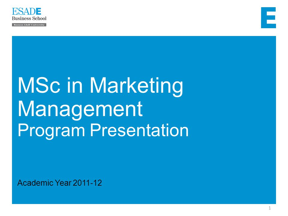 2 MSc in Marketing Management 20 ECTS The Foundations of Marketing Management 5 ECTS Personal and Professional Development Sept.Dec.Jan.Apr.MaySep.Feb.