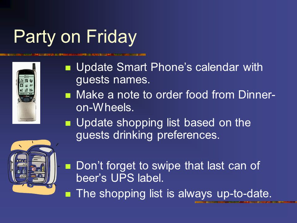 Party on Friday Update Smart Phone's calendar with guests names.