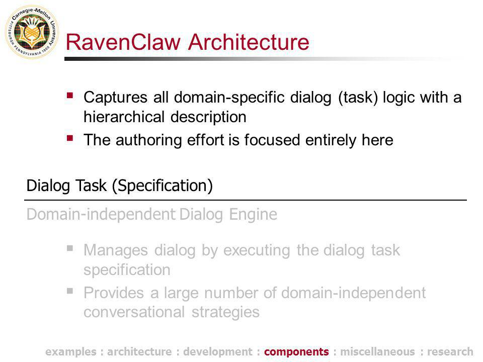 RavenClaw Architecture  Captures all domain-specific dialog (task) logic with a hierarchical description  The authoring effort is focused entirely h