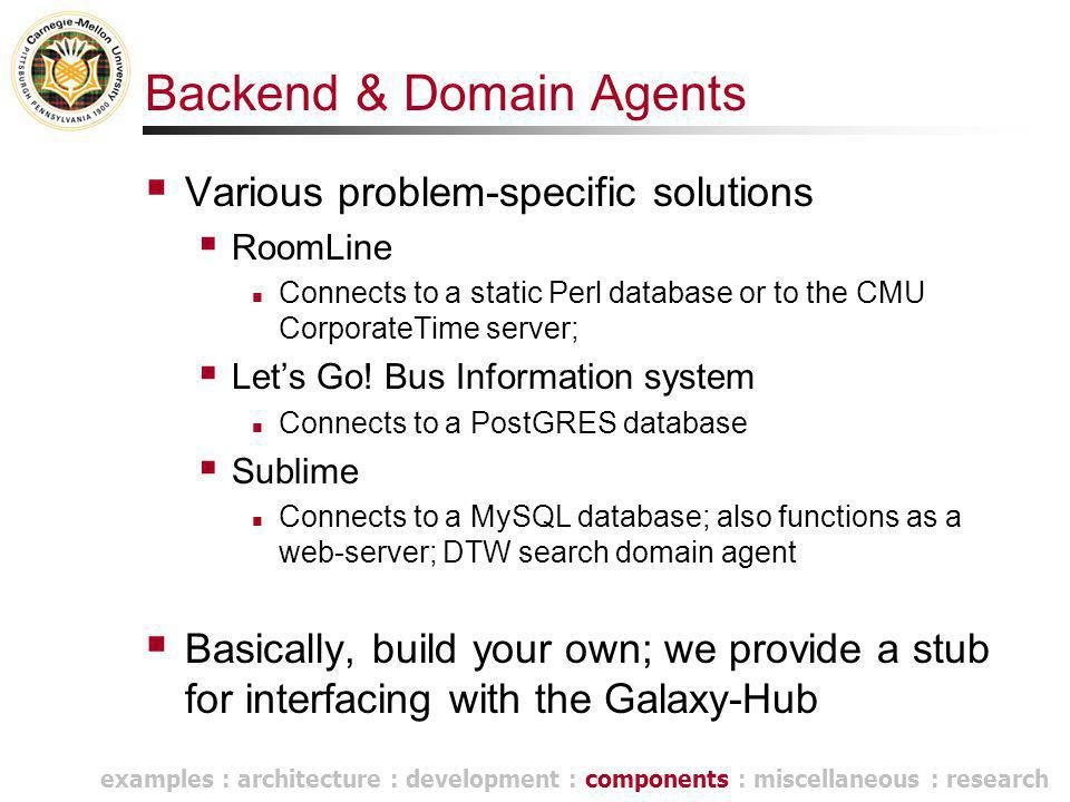 Backend & Domain Agents  Various problem-specific solutions  RoomLine Connects to a static Perl database or to the CMU CorporateTime server;  Let's Go.