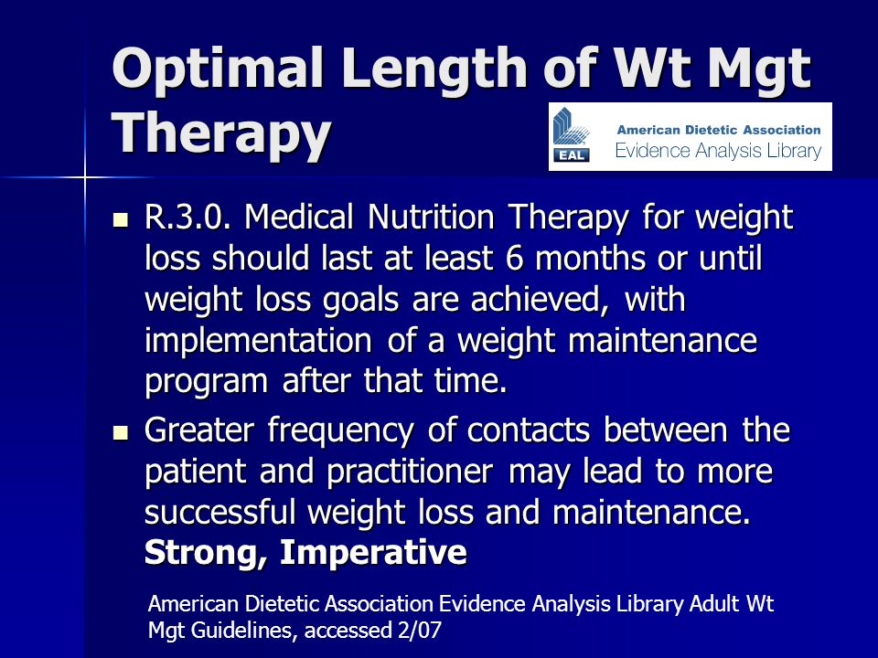 Optimal Length of Wt Mgt Therapy R.3.0.