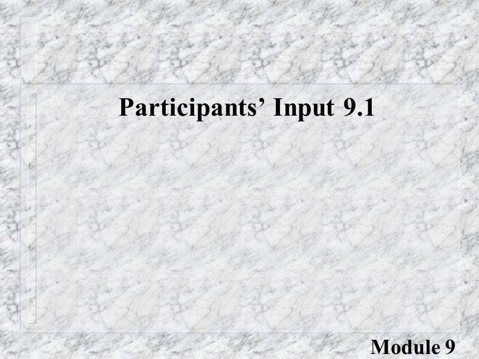 Participants' Input 9.1 Module 9