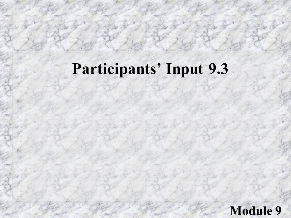 Participants' Input 9.3 Module 9