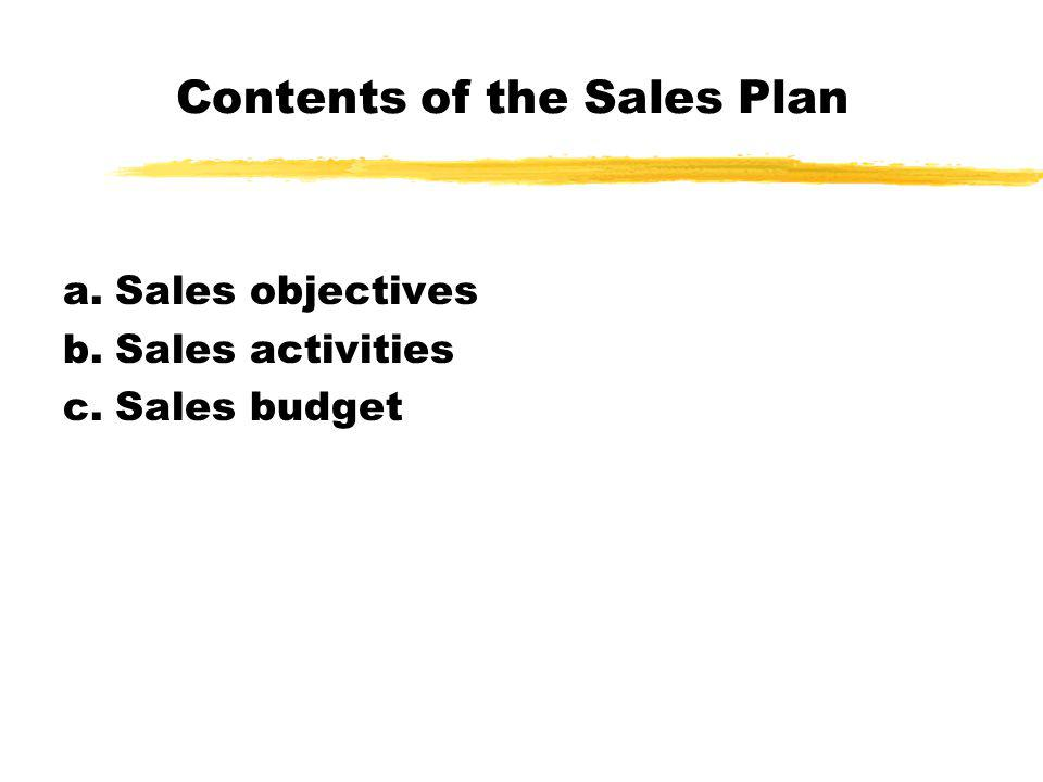 Contents of the Sales Plan a.Sales objectives b.Sales activities c.Sales budget