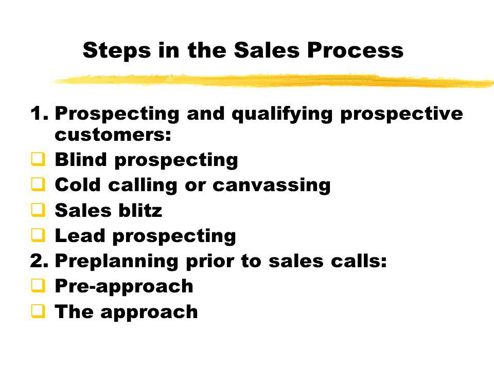 Steps in the Sales Process 1.Prospecting and qualifying prospective customers:  Blind prospecting  Cold calling or canvassing  Sales blitz  Lead p