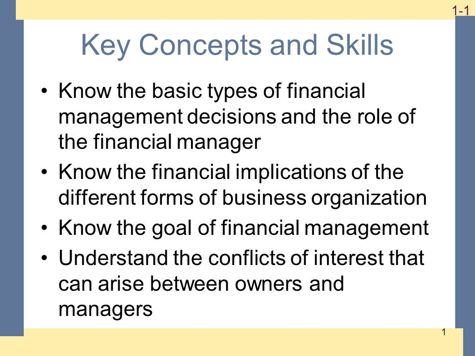 1-2 2 Chapter Outline Finance: A Quick Look Business Finance and The Financial Manager Forms of Business Organization The Goal of Financial Management The Agency Problem and Control of the Corporation Financial Markets and the Corporation