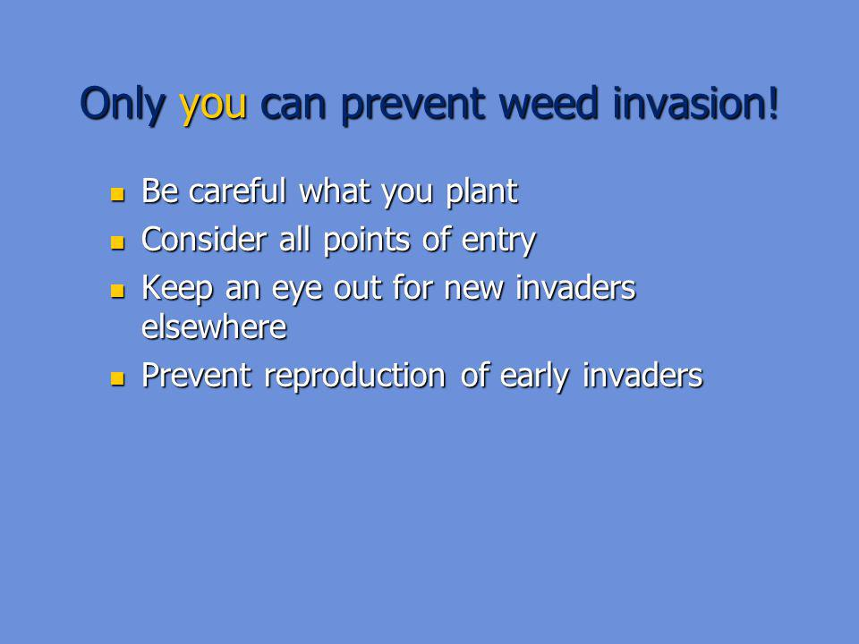 Only you can prevent weed invasion.