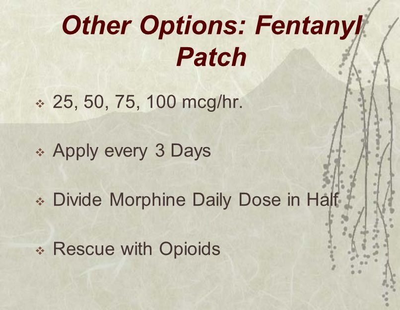Other Options: Fentanyl Patch  25, 50, 75, 100 mcg/hr.  Apply every 3 Days  Divide Morphine Daily Dose in Half  Rescue with Opioids