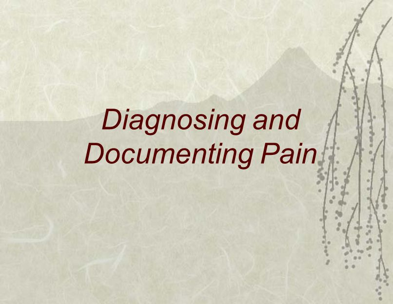 Diagnosing and Documenting Pain