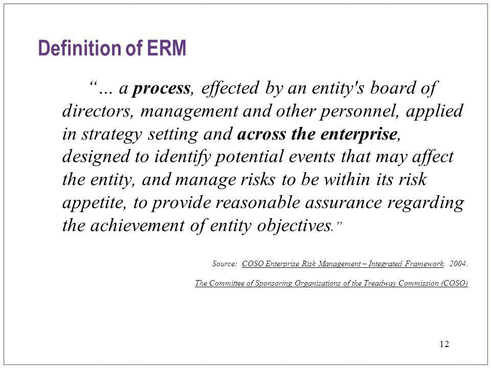 "12 Definition of ERM ""… a process, effected by an entity's board of directors, management and other personnel, applied in strategy setting and across"