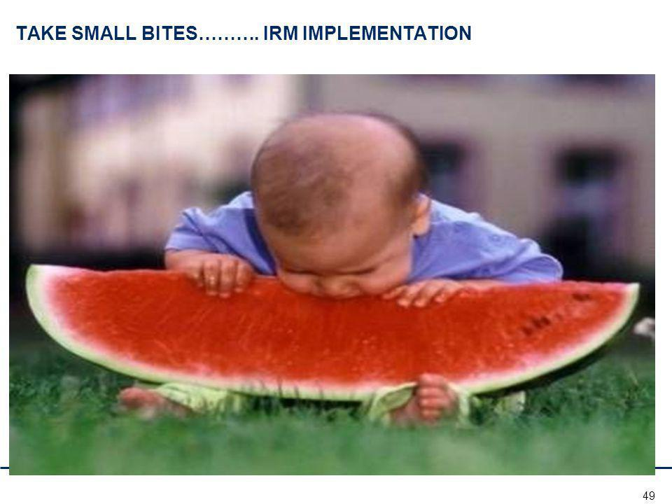 49 TAKE SMALL BITES………. IRM IMPLEMENTATION