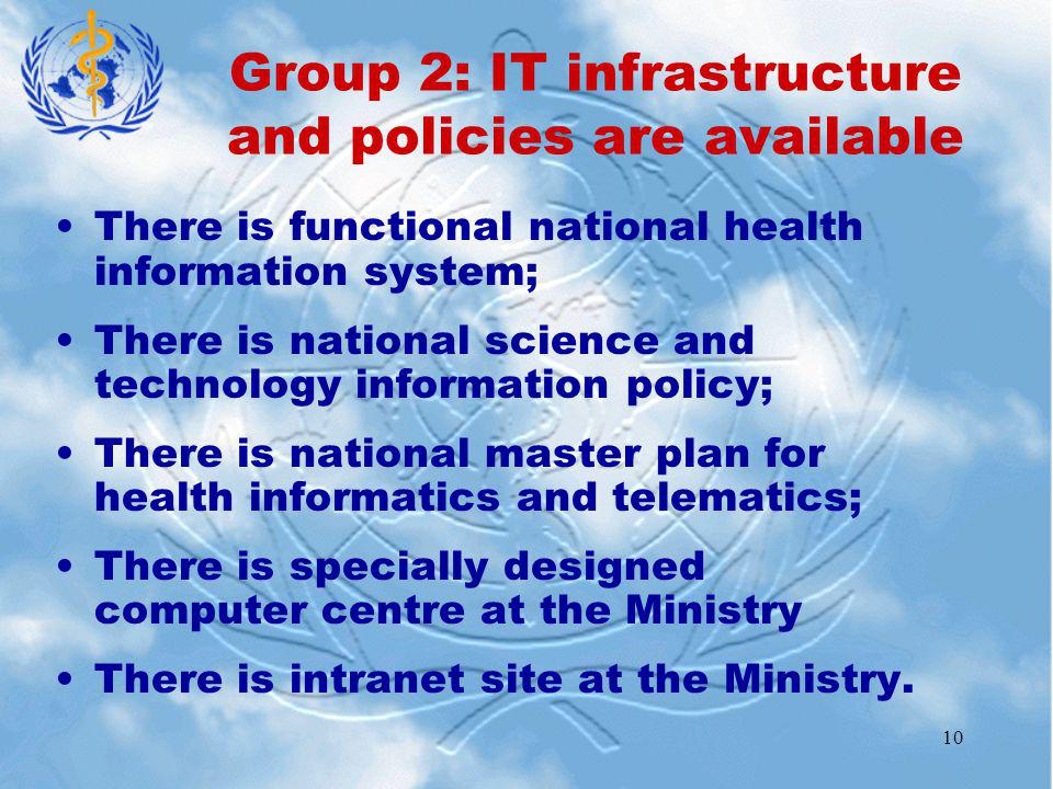 10 There is functional national health information system; There is national science and technology information policy; There is national master plan for health informatics and telematics; There is specially designed computer centre at the Ministry There is intranet site at the Ministry.