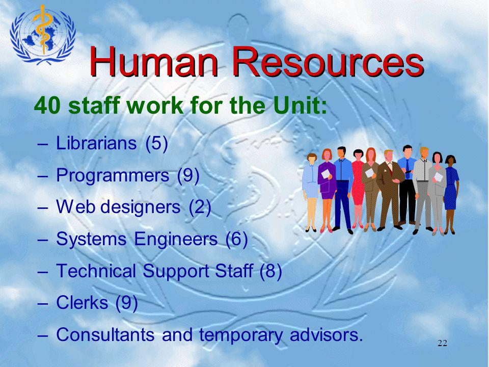 22 Human Resources –Librarians (5) –Programmers (9) –Web designers (2) –Systems Engineers (6) –Technical Support Staff (8) –Clerks (9) –Consultants and temporary advisors.