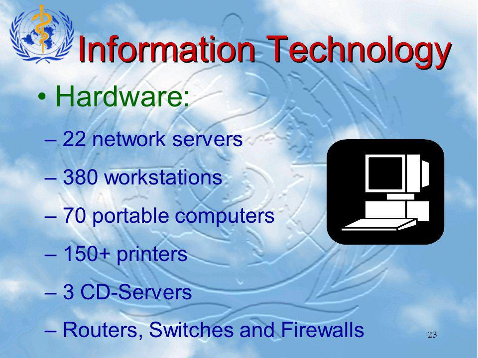23 Information Technology Hardware: – –22 network servers – –380 workstations – –70 portable computers – –150+ printers – –3 CD-Servers – –Routers, Switches and Firewalls