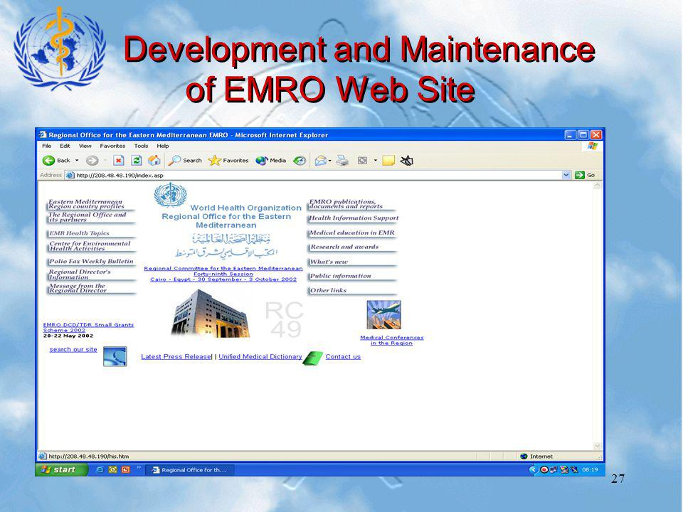 27 Development and Maintenance of EMRO Web Site