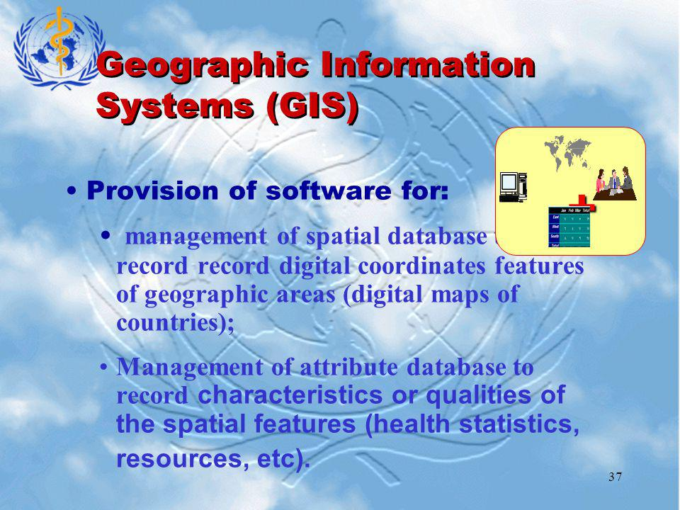 37 Geographic Information Systems (GIS) Provision of software for: management of spatial database to record record digital coordinates features of geographic areas (digital maps of countries); Management of attribute database to record characteristics or qualities of the spatial features (health statistics, resources, etc).