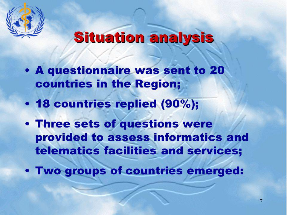 7 Situation analysis A questionnaire was sent to 20 countries in the Region; 18 countries replied (90%); Three sets of questions were provided to assess informatics and telematics facilities and services; Two groups of countries emerged: