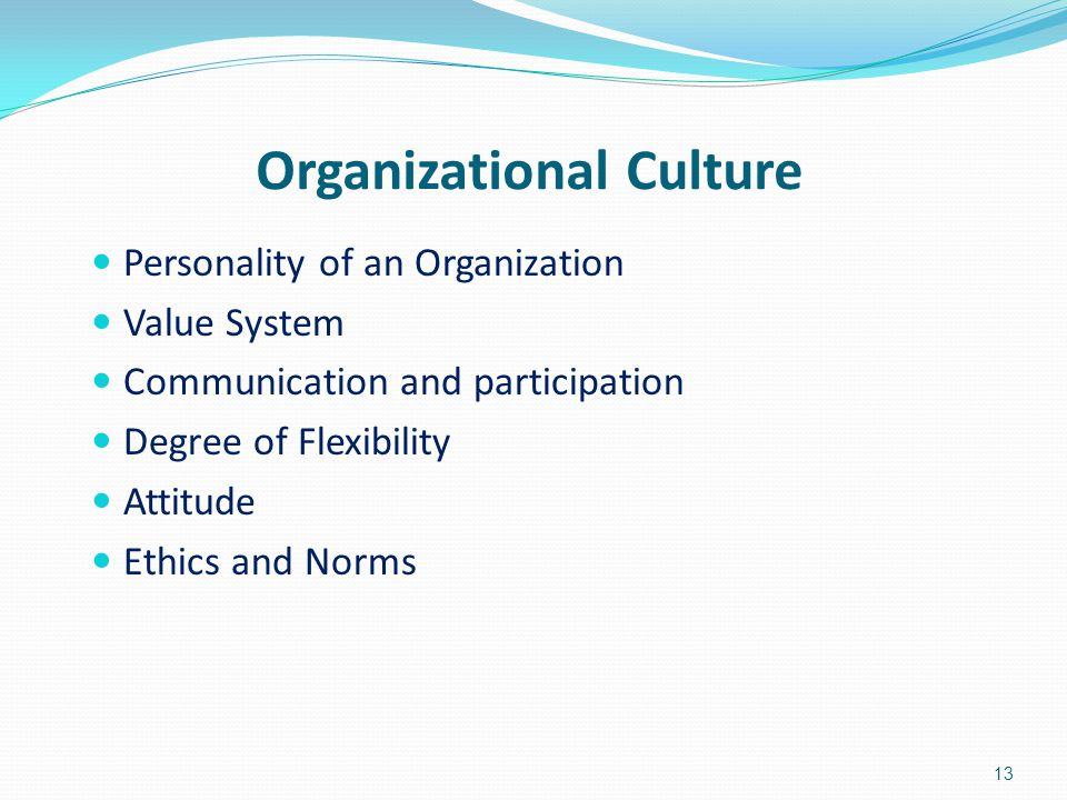 Organizational Culture Personality of an Organization Value System Communication and participation Degree of Flexibility Attitude Ethics and Norms 13