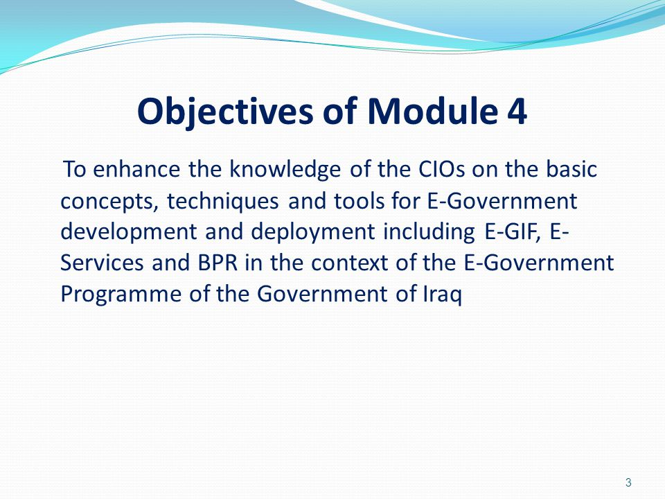 Objectives of Module 4 To enhance the knowledge of the CIOs on the basic concepts, techniques and tools for E-Government development and deployment in