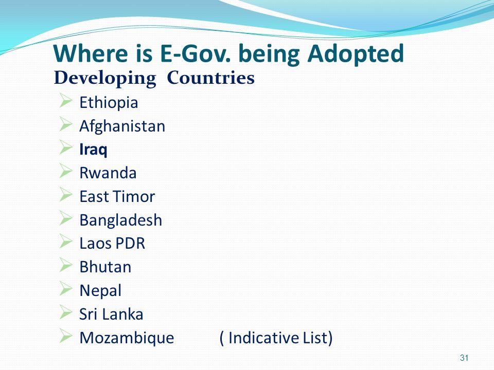 Developing Countries  Ethiopia  Afghanistan  Iraq  Rwanda  East Timor  Bangladesh  Laos PDR  Bhutan  Nepal  Sri Lanka  Mozambique( Indicati
