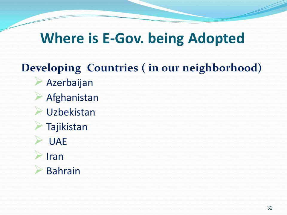 Developing Countries ( in our neighborhood)  Azerbaijan  Afghanistan  Uzbekistan  Tajikistan  UAE  Iran  Bahrain 32 Where is E-Gov. being Adopt