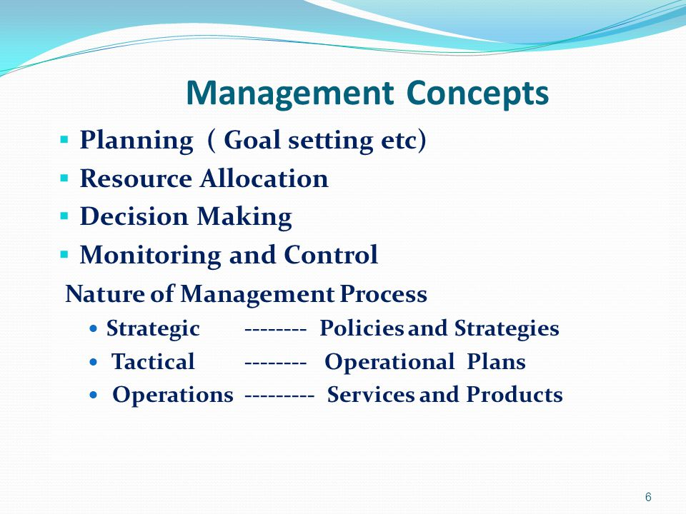 Management Concepts  Planning ( Goal setting etc)  Resource Allocation  Decision Making  Monitoring and Control Nature of Management Process Strat