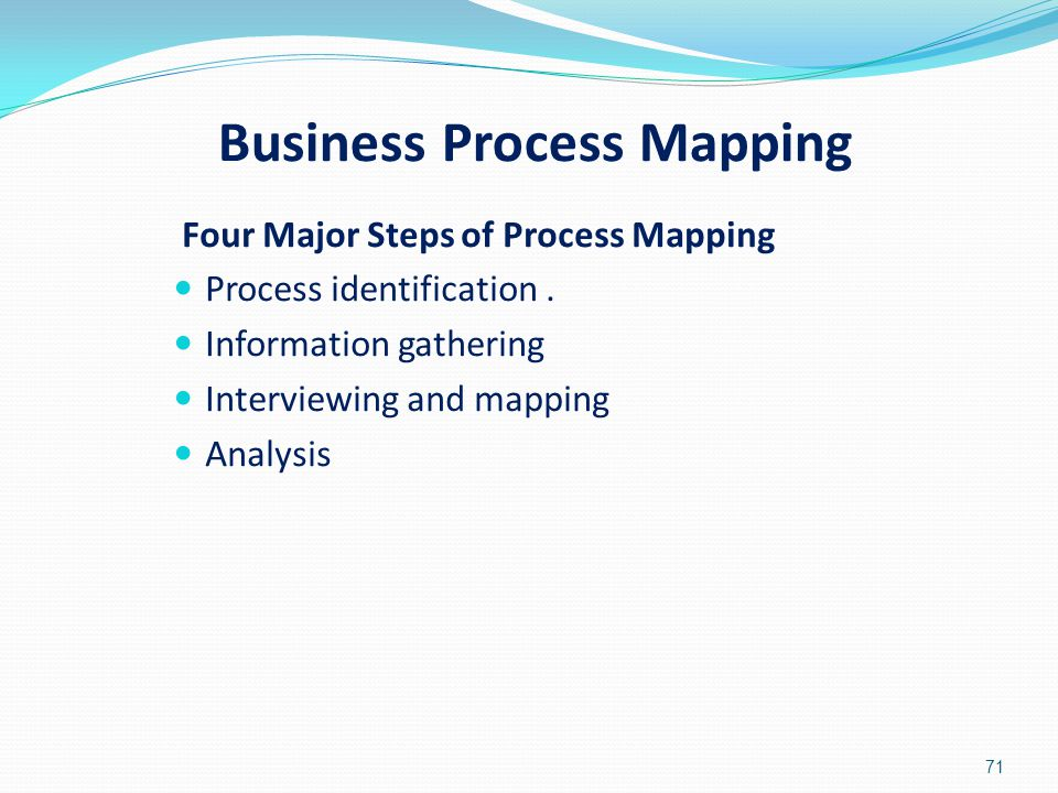 Business Process Mapping Four Major Steps of Process Mapping Process identification. Information gathering Interviewing and mapping Analysis 71