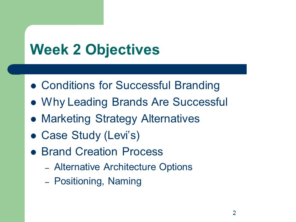 2 Week 2 Objectives Conditions for Successful Branding Why Leading Brands Are Successful Marketing Strategy Alternatives Case Study (Levi's) Brand Cre