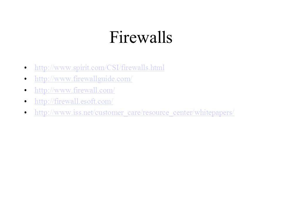 Firewalls http://www.spirit.com/CSI/firewalls.html http://www.firewallguide.com/ http://www.firewall.com/ http://firewall.esoft.com/ http://www.iss.net/customer_care/resource_center/whitepapers/