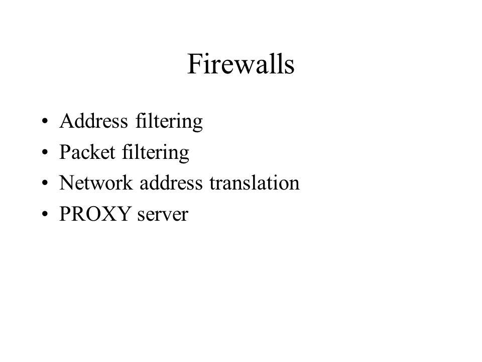 Firewalls Address filtering Packet filtering Network address translation PROXY server
