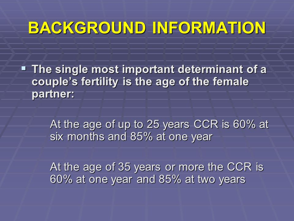BACKGROUND INFORMATION  The other factors influencing the likelihood of a spontaneous pregnancy are: Duration of subfertility Occurrence of a previous pregnancy  The effect of age on male fertility, however is less clear  Any change in the prevalence of subfertility in recent years is a difficult question to answer but the male fertility is declining