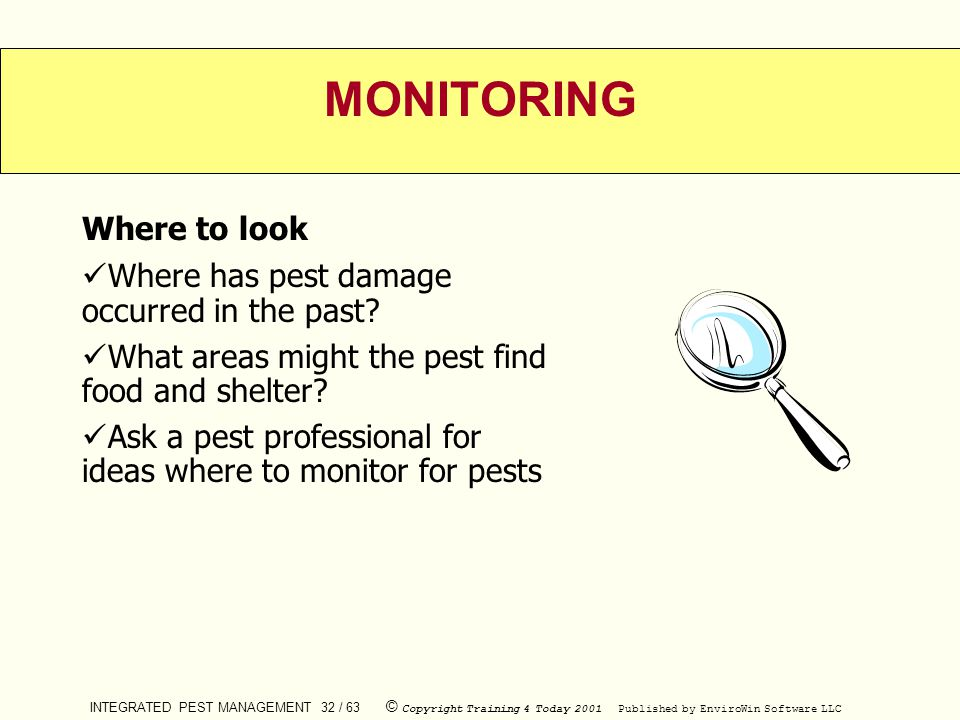 INTEGRATED PEST MANAGEMENT 32 / 63 © Copyright Training 4 Today 2001 Published by EnviroWin Software LLC MONITORING Where to look Where has pest damag