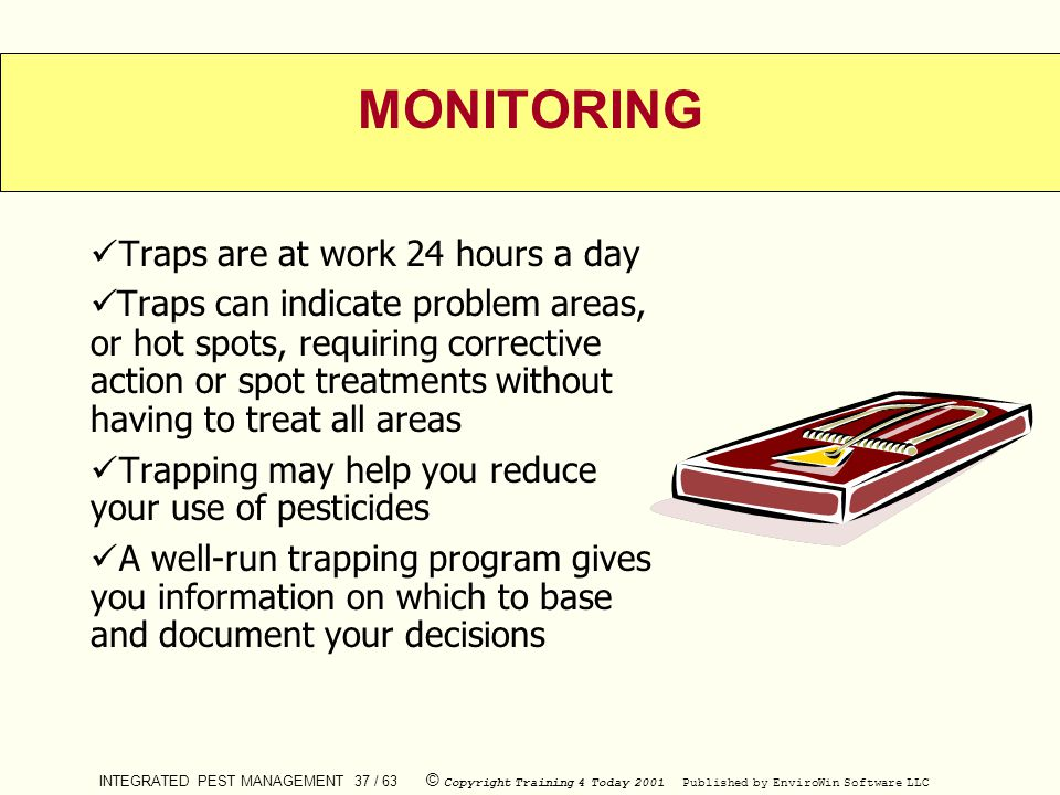 INTEGRATED PEST MANAGEMENT 37 / 63 © Copyright Training 4 Today 2001 Published by EnviroWin Software LLC MONITORING Traps are at work 24 hours a day T