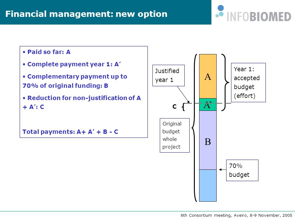 6th Consortium meeting, Aveiro, 8-9 November, 2005 Financial management: new option Paid so far: A Complete payment year 1: A' Complementary payment up to 70% of original funding: B Reduction for non-justification of A + A': C Total payments: A+ A' + B - C B A' Year 1: accepted budget (effort) A Original budget whole project 70% budget C Justified year 1