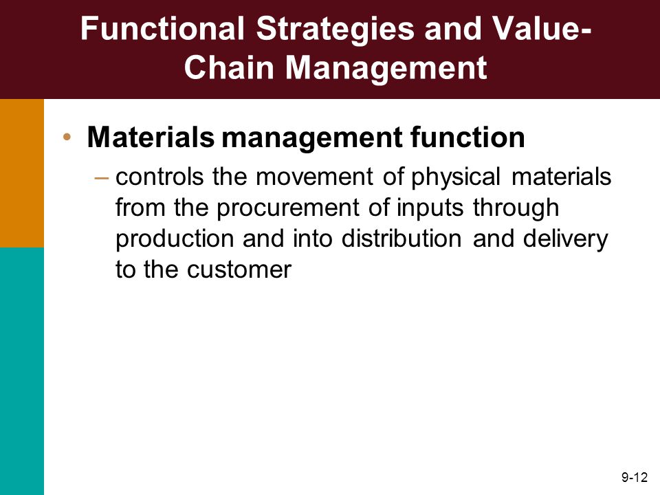 9-12 Functional Strategies and Value- Chain Management Materials management function –controls the movement of physical materials from the procurement of inputs through production and into distribution and delivery to the customer