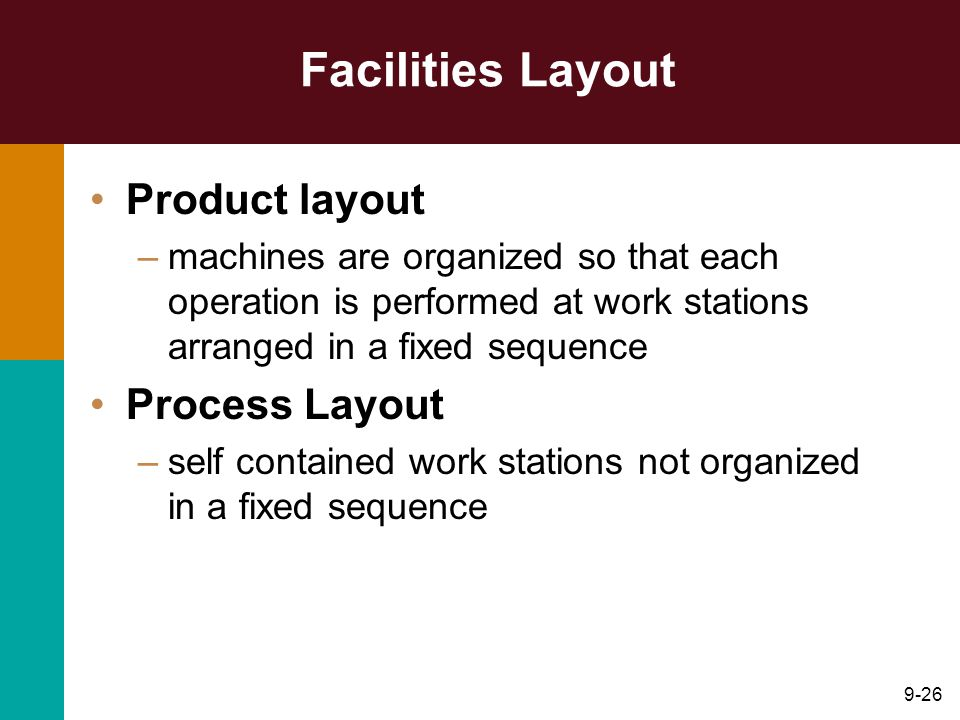 9-26 Facilities Layout Product layout –machines are organized so that each operation is performed at work stations arranged in a fixed sequence Process Layout –self contained work stations not organized in a fixed sequence