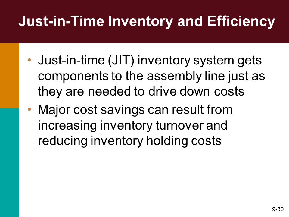 9-30 Just-in-Time Inventory and Efficiency Just-in-time (JIT) inventory system gets components to the assembly line just as they are needed to drive down costs Major cost savings can result from increasing inventory turnover and reducing inventory holding costs