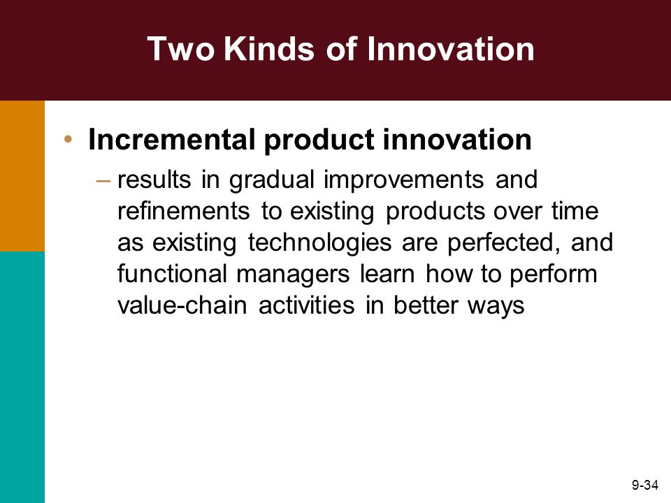 9-34 Two Kinds of Innovation Incremental product innovation –results in gradual improvements and refinements to existing products over time as existing technologies are perfected, and functional managers learn how to perform value-chain activities in better ways