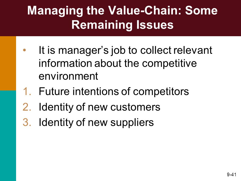 9-41 Managing the Value-Chain: Some Remaining Issues It is manager's job to collect relevant information about the competitive environment 1.Future intentions of competitors 2.Identity of new customers 3.Identity of new suppliers