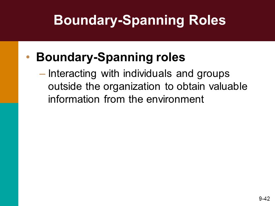 9-42 Boundary-Spanning Roles Boundary-Spanning roles –Interacting with individuals and groups outside the organization to obtain valuable information from the environment
